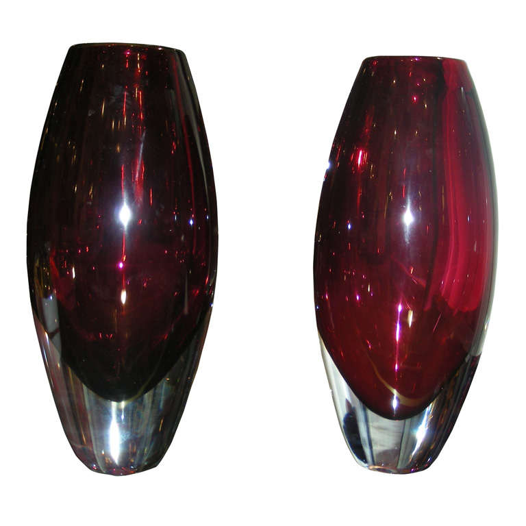 Two 1960s Italian Murano Glass Vases At 1stdibs