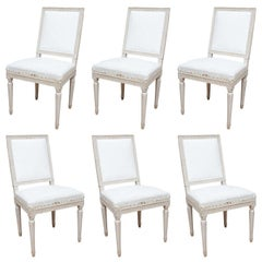 Set of six Gustavian Square Back Dining Chairs