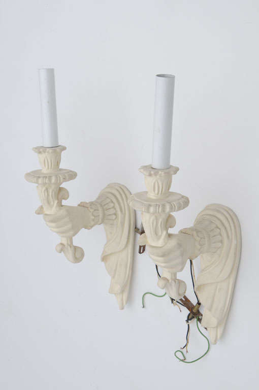 Wall Sconces Plaster : Pair of Plaster Wall Sconces at 1stdibs