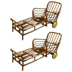 Pair of Bamboo Chaise Lounge Chairs