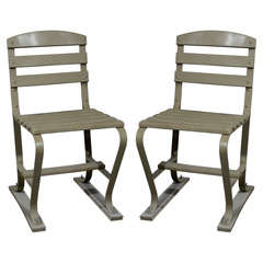 American Wood and Metal Garden Chairs