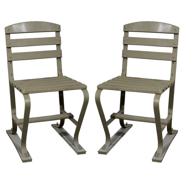 Outdoor Metal Furniture For Sale: American Wood And Metal Garden Chairs For Sale At 1stdibs