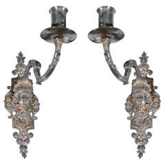 French Silvered Metal Candelabras