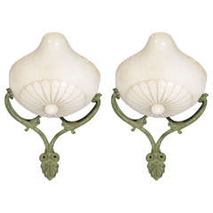 Pair of French Alabaster and Patina Metal Sconces