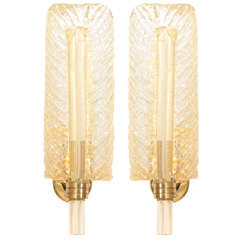 Stunning Pair Barovier & Toso Murano Glass Leaf Sconces