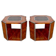 Pair of Burl Walnut Side Tables