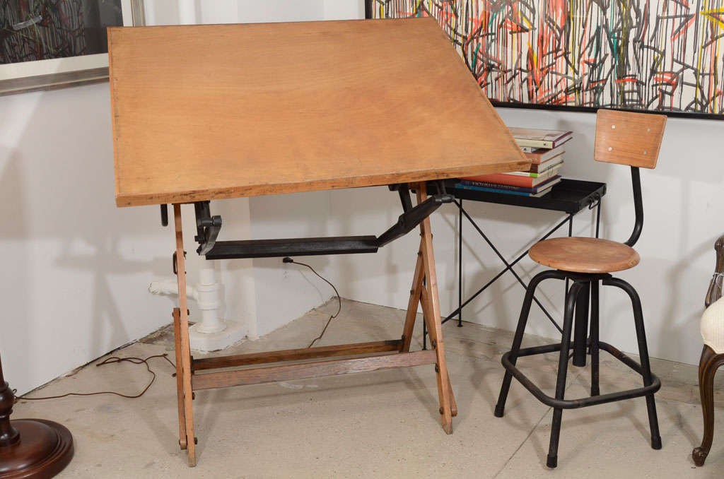 antique french wood drafting table and stool at 1stdibs