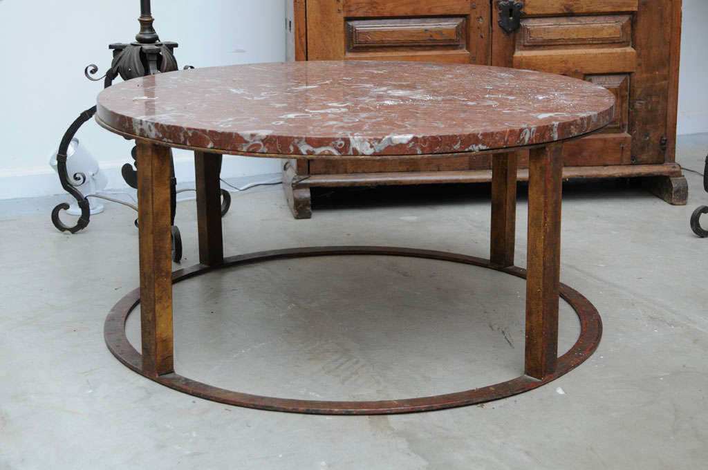 Round French Marble Top Coffee Table Image 2