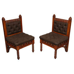 Pair of American Gothic Revival Architectural Side Chairs