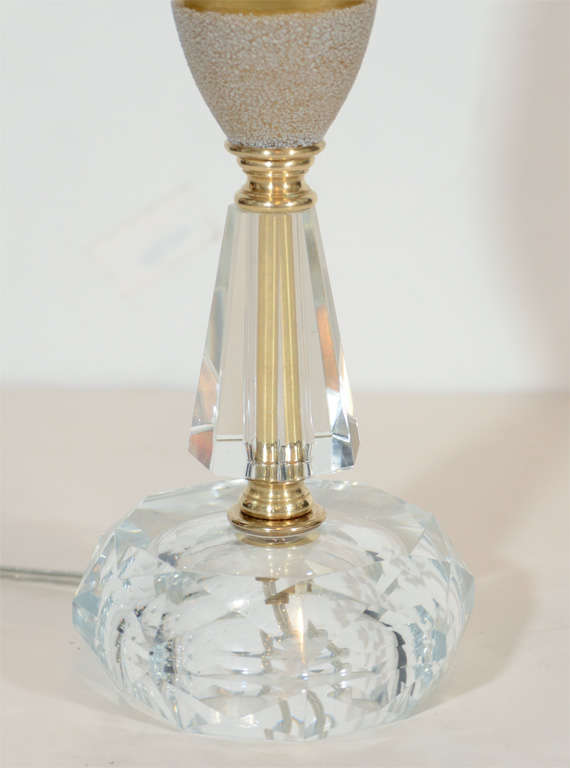 1940 39 s hollywood cut crystal and gold mercury glass lamp at 1stdibs. Black Bedroom Furniture Sets. Home Design Ideas