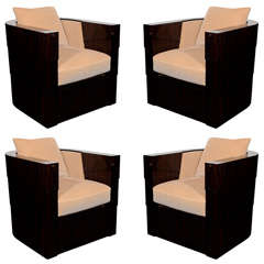 Set of Four Normandy Art Deco Style Macassar Swivel Club Chairs
