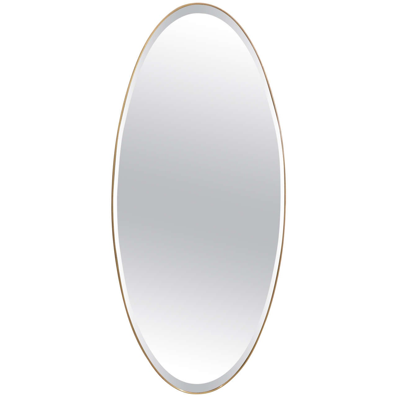 Large oval ellipse shaped beveled mirror with brass modern for Modern mirrors