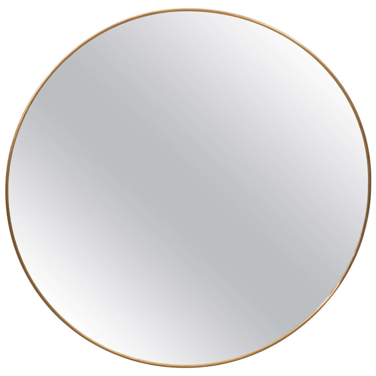 Italian modernist brass framed round mirror 1950s at 1stdibs for Round mirror