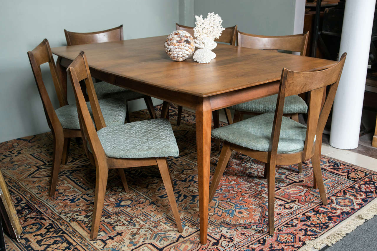 heywood wakefield solid birch table and six chairs for sale at 1stdibs