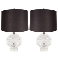 Magnificent Pair of Mid-Century Modernist Lucite Table Lamps by Prismatiques