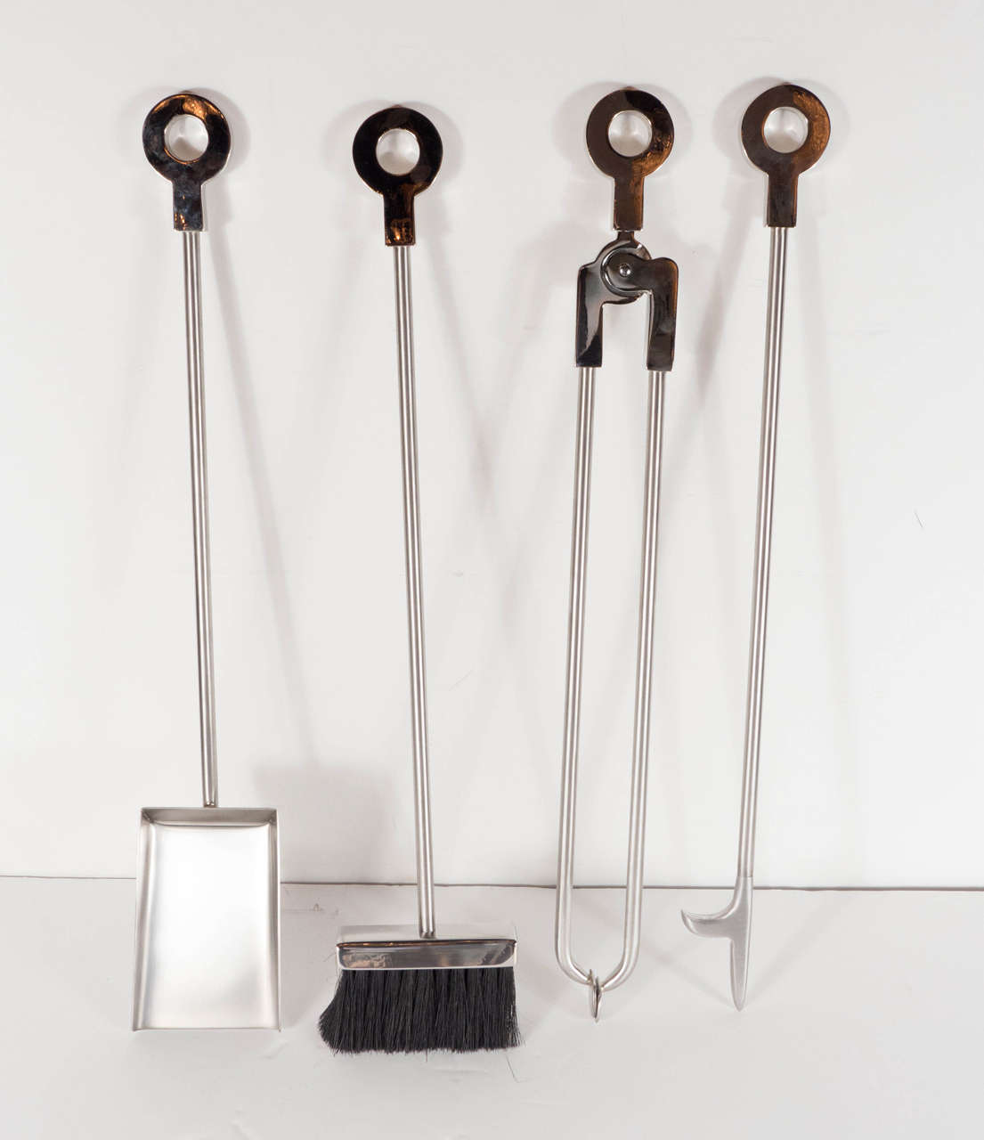 Contemporary Custom Modernist Four-Piece Fire Tool Set in Polished and Brushed Nickel For Sale
