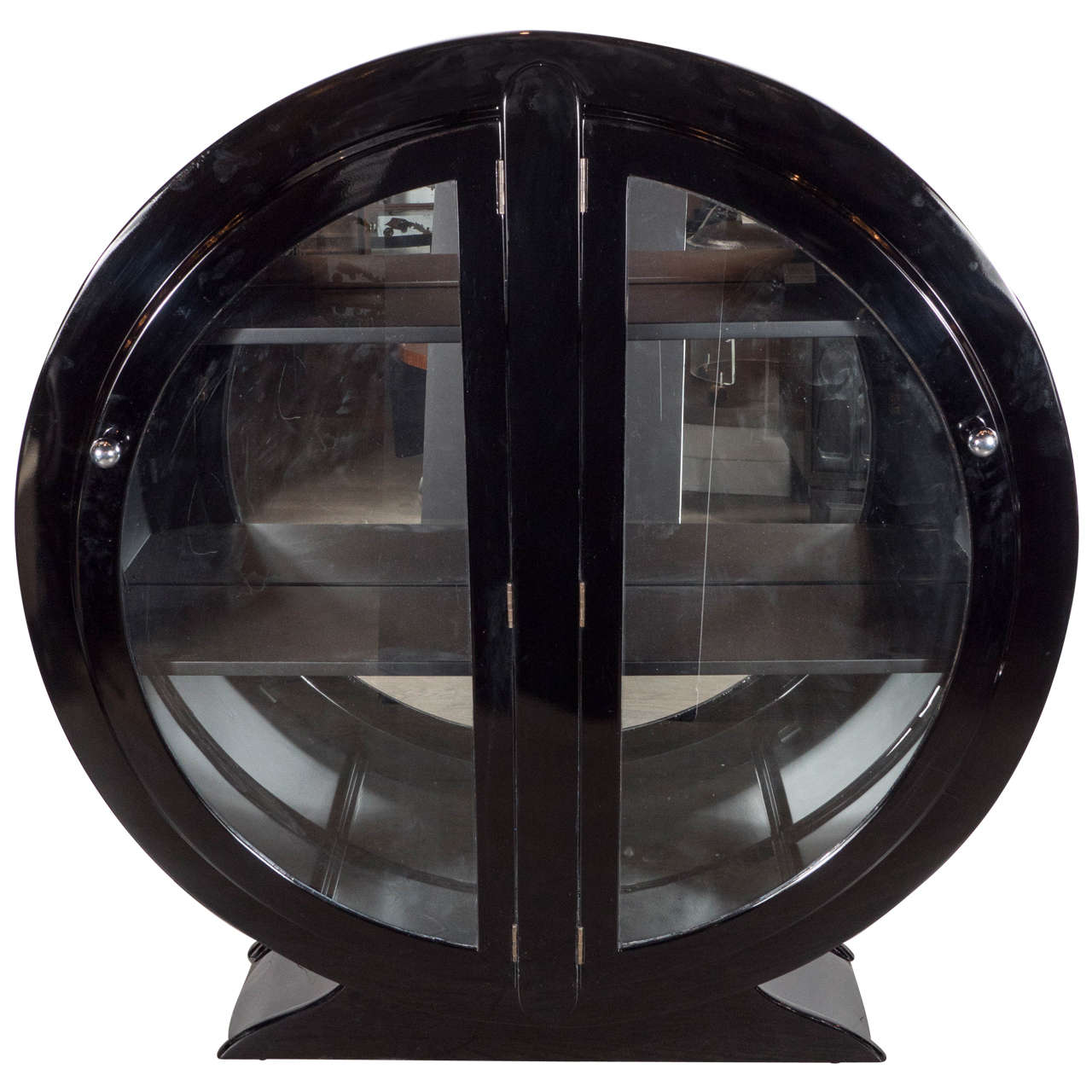 Art Deco Streamlined Bar/ Display Cabinet In Black Lacquer at 1stdibs