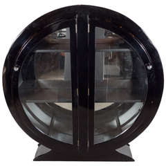 Art Deco Streamlined Bar/ Display Cabinet In Black Lacquer