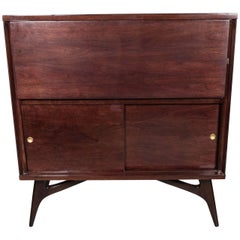 Mid-Century Modern Illuminating Bookmatched Walnut & Brass Bar Cabinet