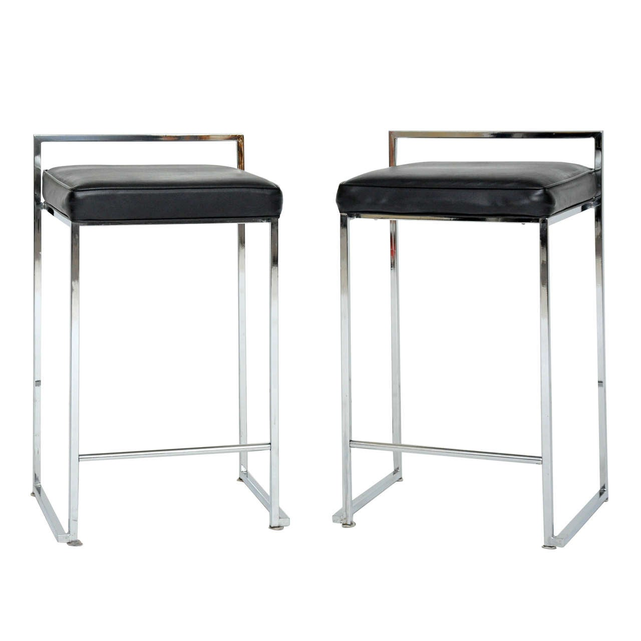 Chrome Bar Stools ~ Pair of chrome counter stools attributed to milo baughman