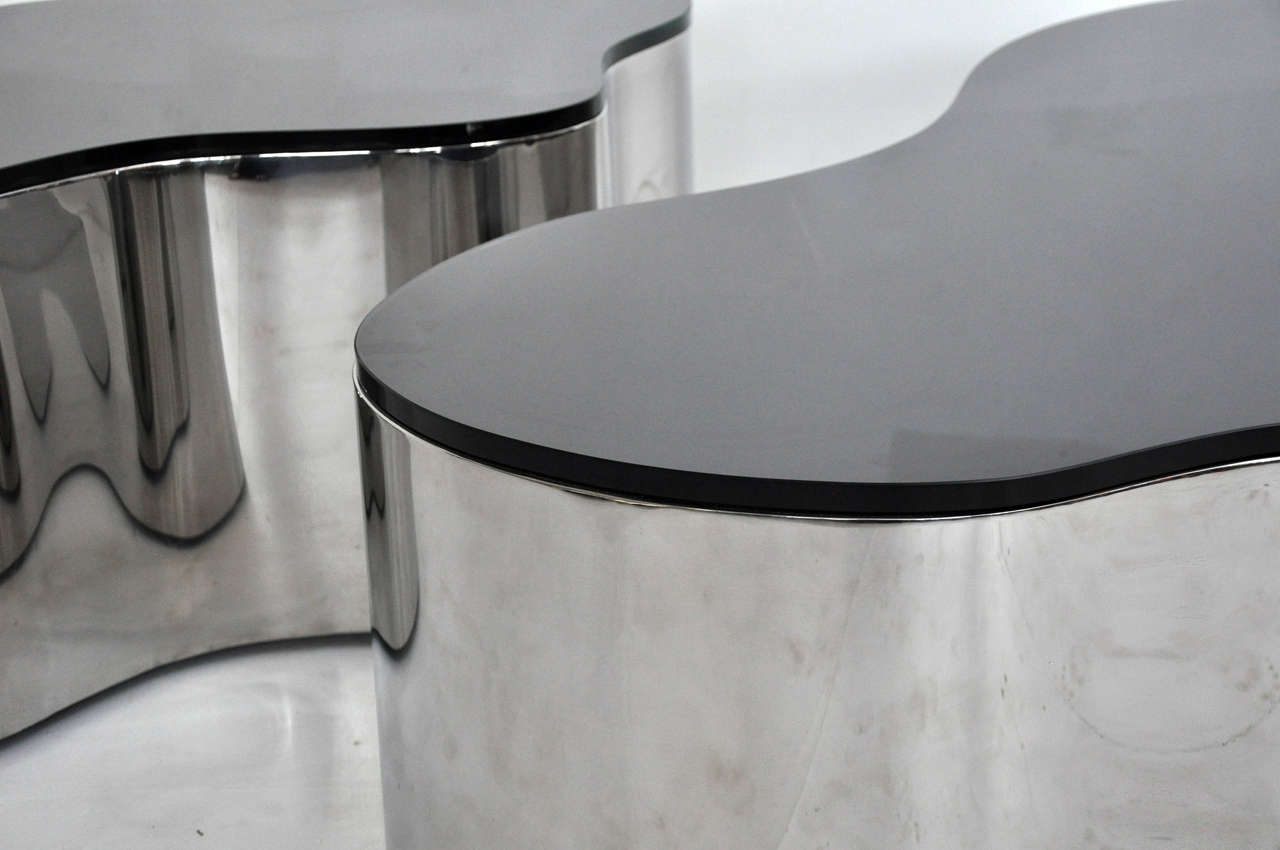 Pair of Free-Form Coffee Tables by Karl Springer 3