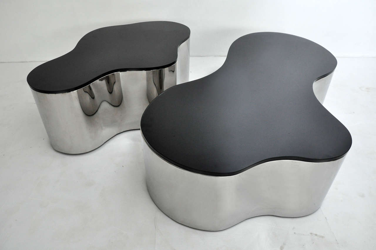 Pair of Free-Form Coffee Tables by Karl Springer 5