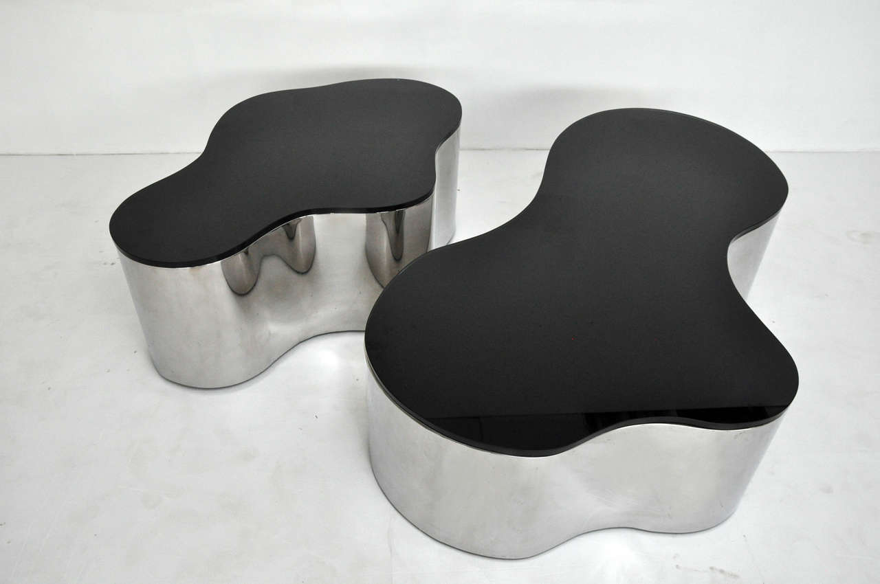 20th Century Pair of Free-Form Coffee Tables by Karl Springer For Sale