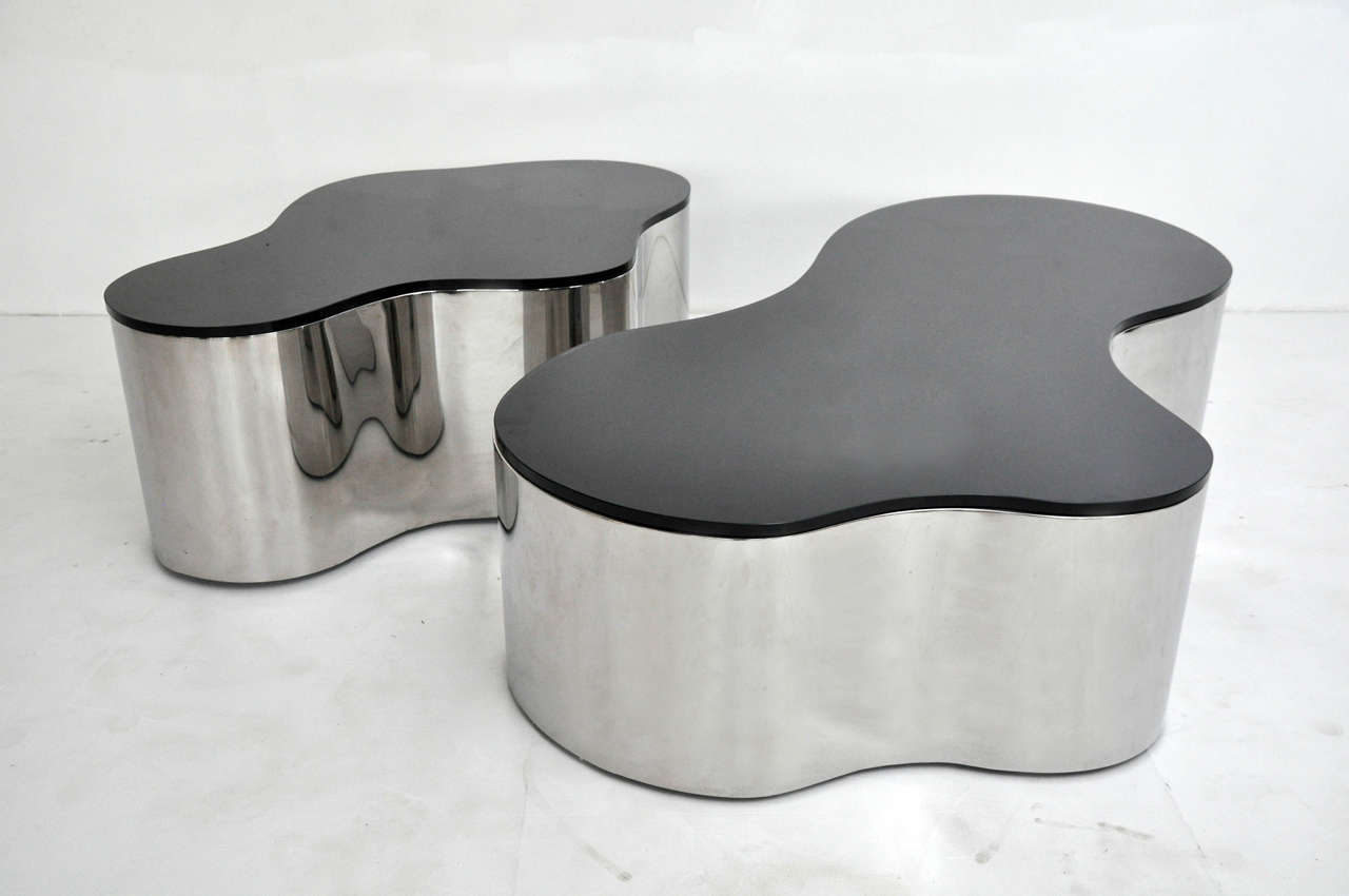 Pair of Free-Form Coffee Tables by Karl Springer 2