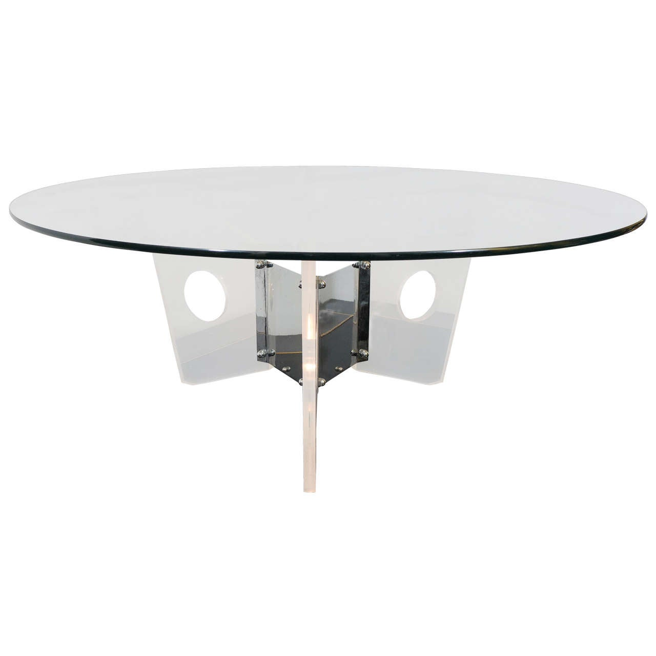 Midcentury Round Glass Coffee Table With Illuminated Lucite Base At 1stdibs