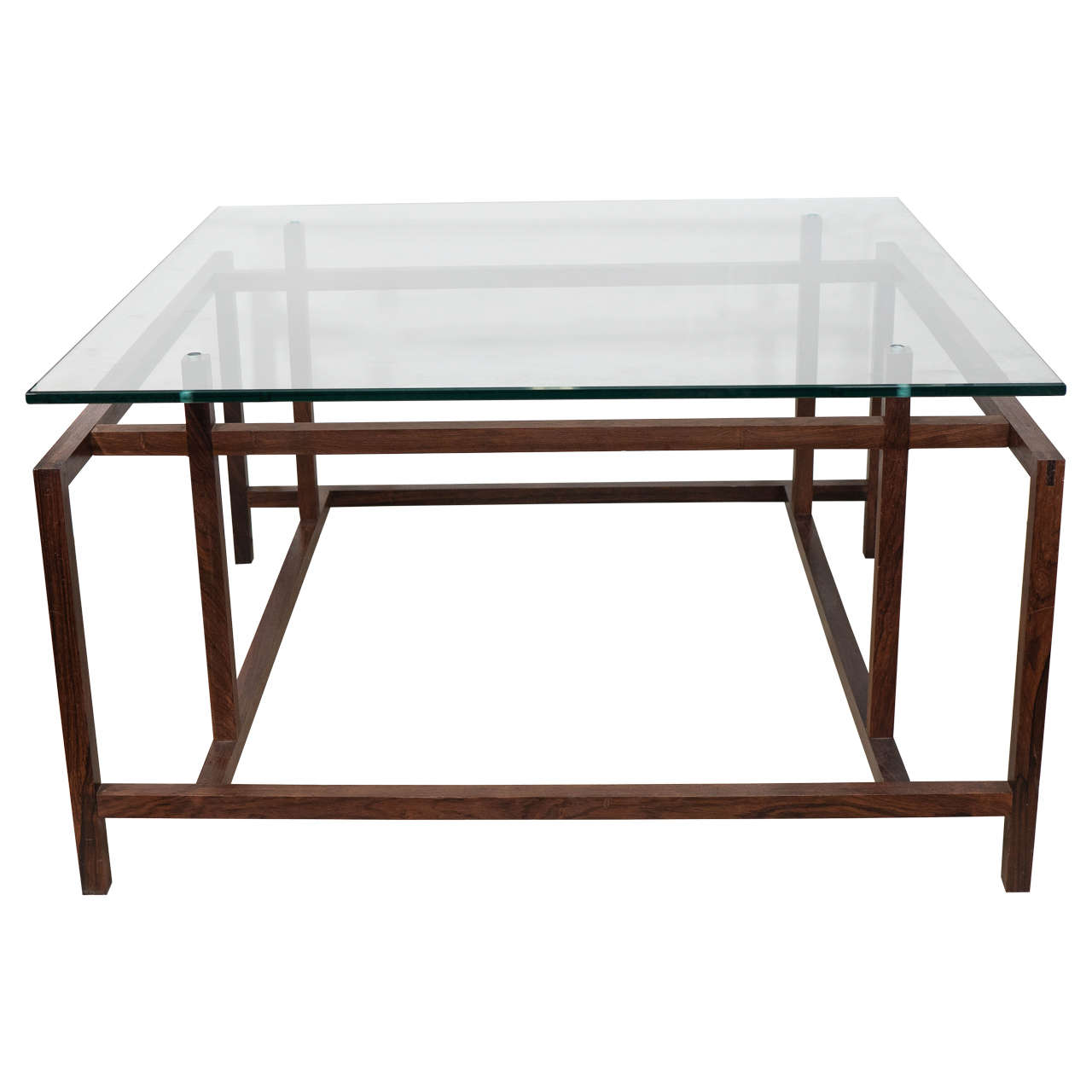 Henning Norgaard Modern Rosewood Coffee Table With Glass Top For Komfort