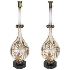 Pair of Enamel Table Lamps with Scenes of Venice in the Manner of Fornasetti