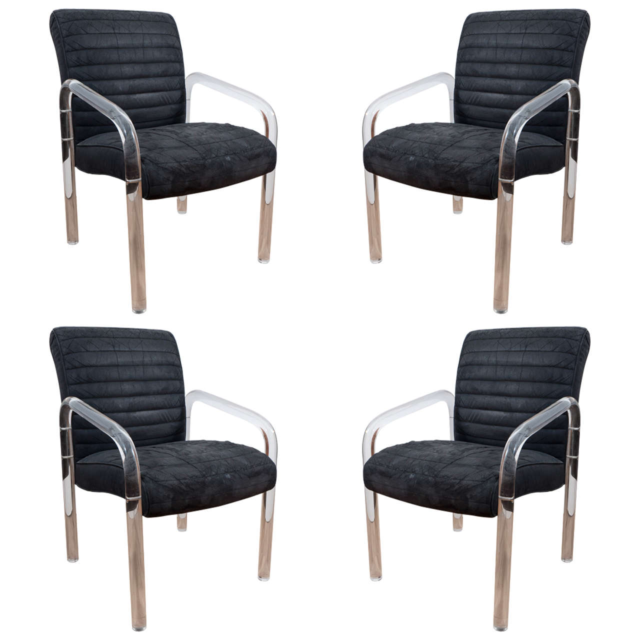 Set of Four Lucite Armchairs with Faux Leather Upholstery by Leon Rosen for Pace