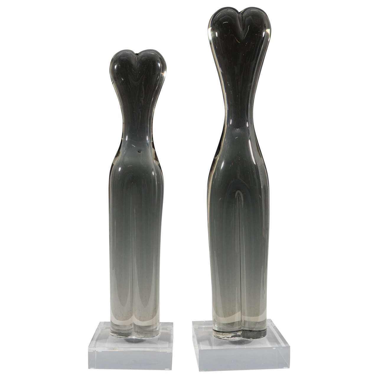 Pair of Rare Studio Glass Sculptures of Abstract Female Torsos