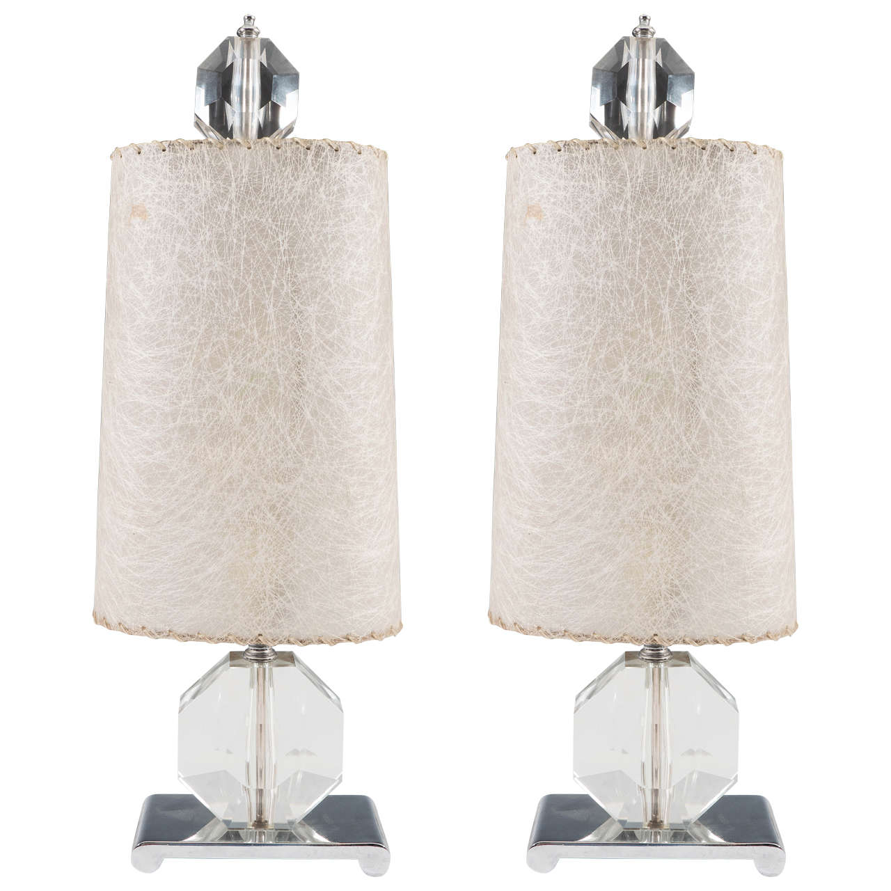 Rare Pair of Glass Gemstone Form Table Lamps on Chrome Bases