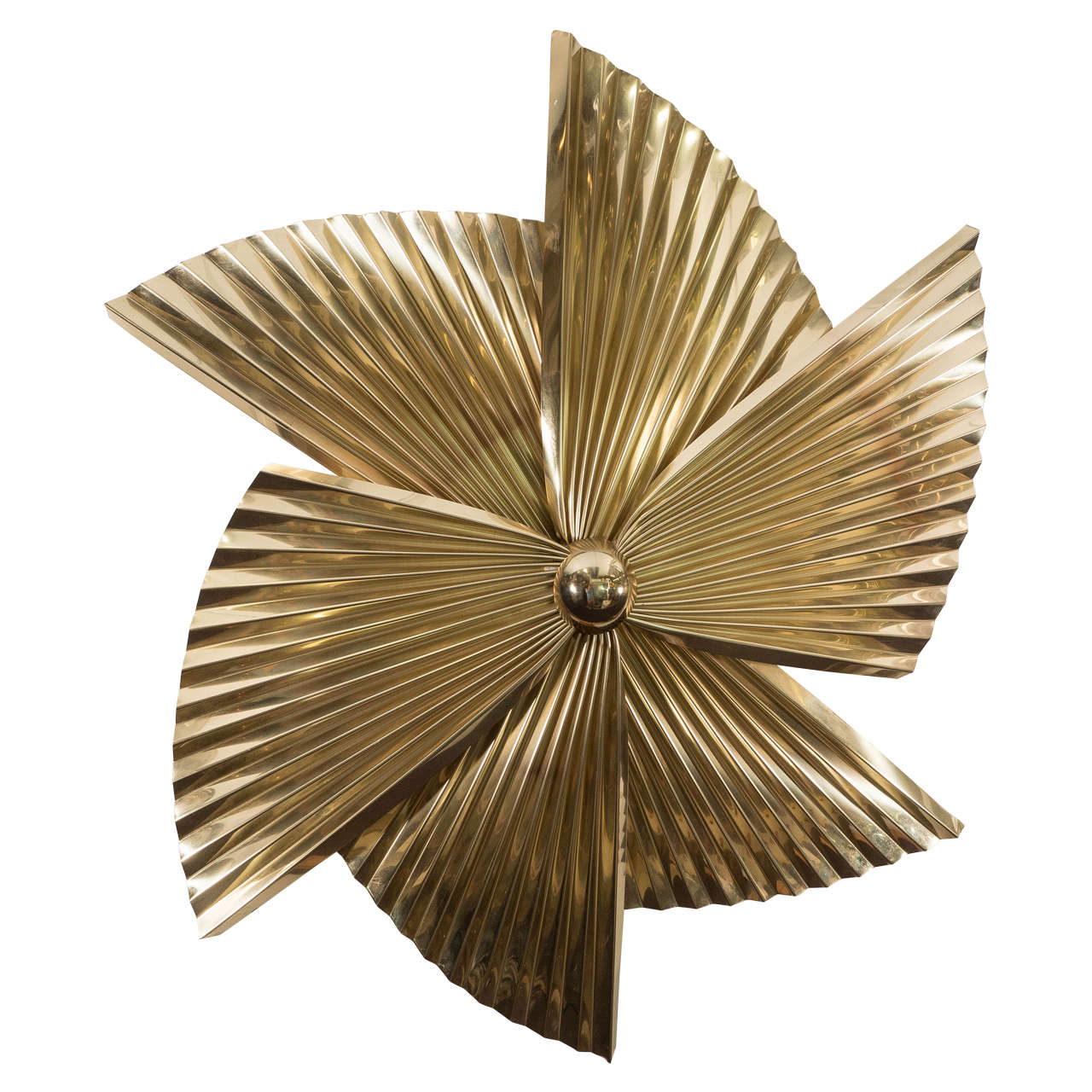 A Curtis Jere Brass Pinwheel Wall Sculpture