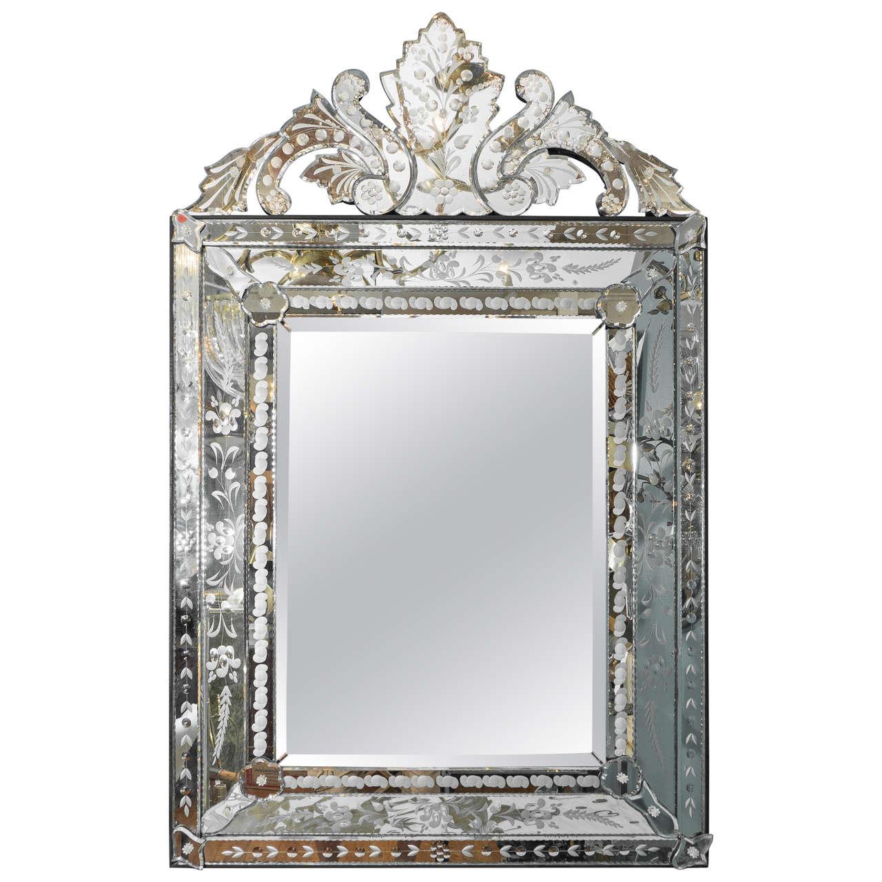 Mid Century Hollywood Regency Beveled Venetian Wall Mirror