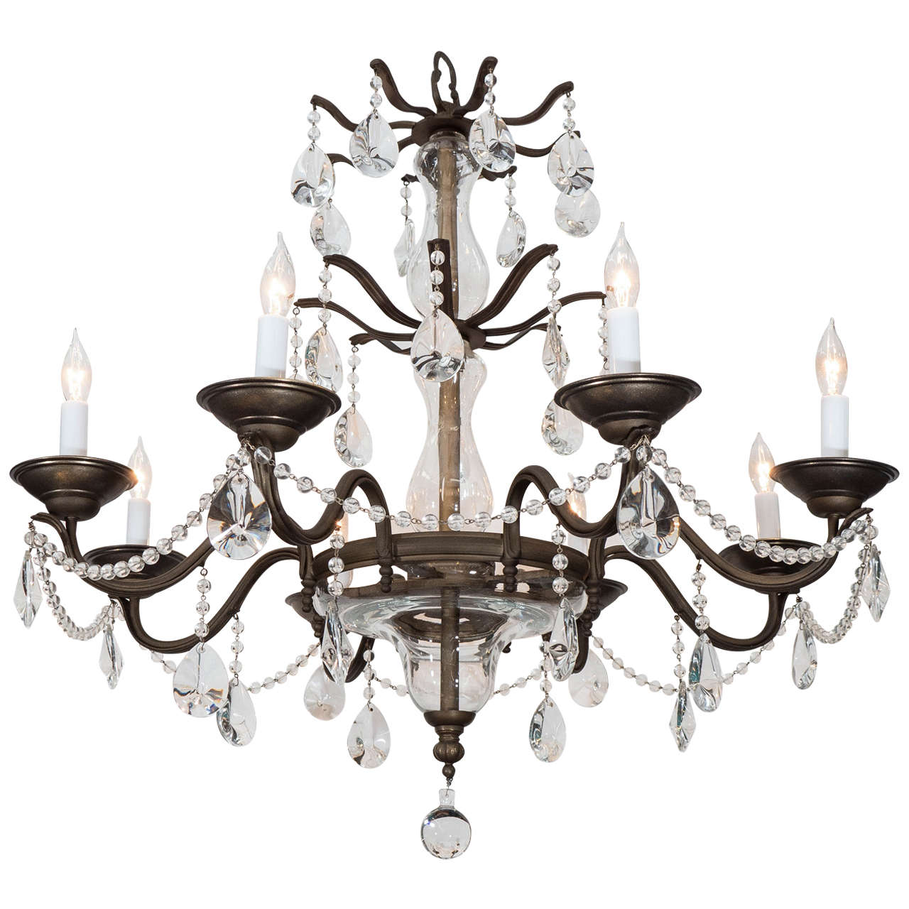 Twelve light italian crystal chandelier with large drops and lots of midcentury eight arm iron chandelier with sciolari crystal drops and beading aloadofball Gallery