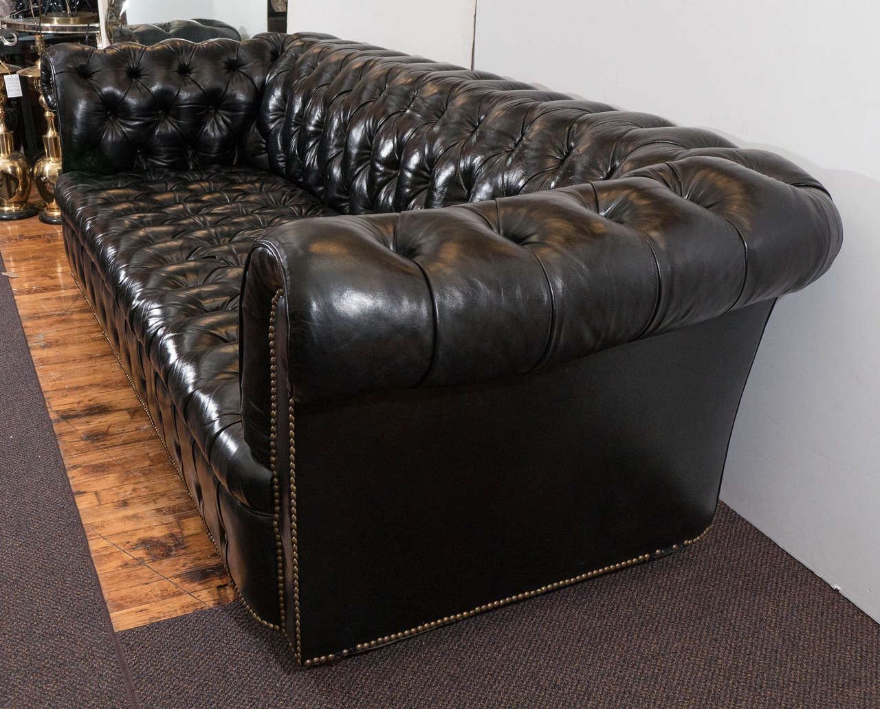 Midcentury Chesterfield Sofa in Tufted Black Leather at 1stdibs