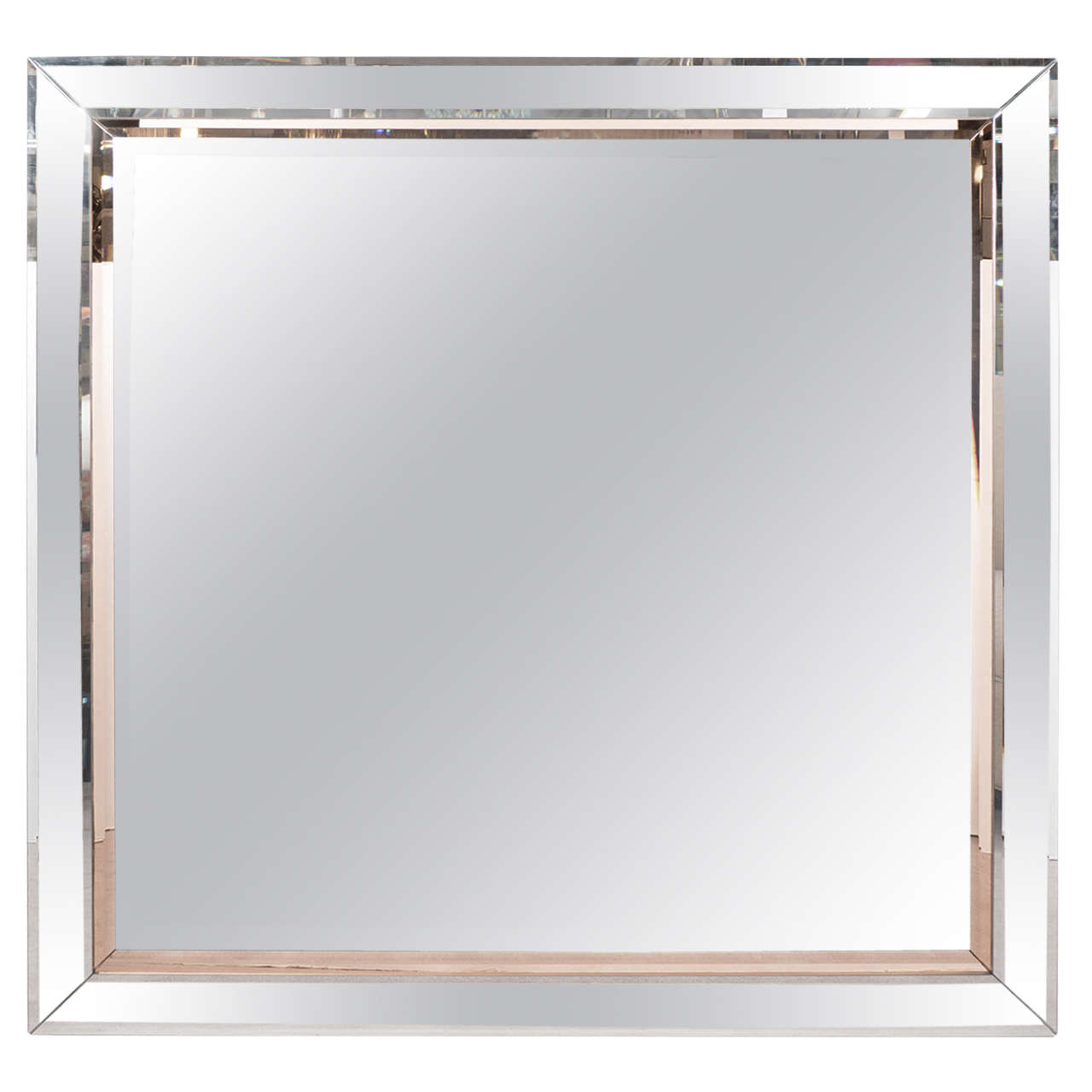 Midcentury beveled wall mirror with copper toned glass for Glass mirrors for walls