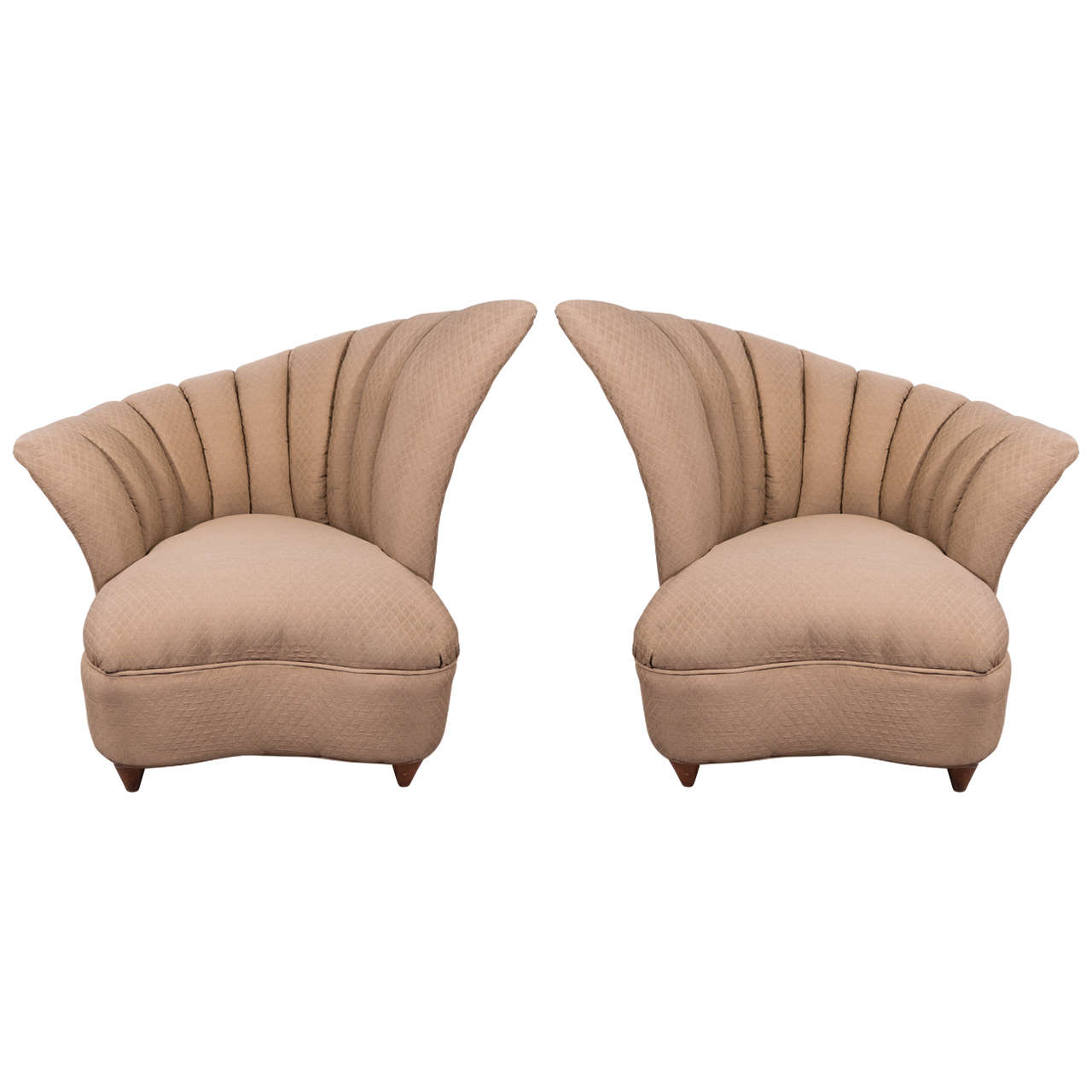 Pair Of Scallop Back Slipper Chairs In The Manner Of Gilbert Rohde For Sale
