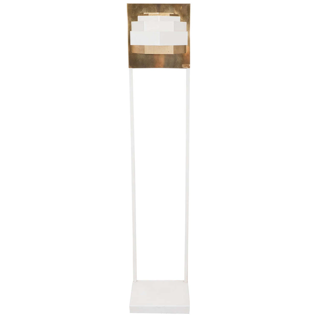 A Midcentury Sculptural Floor Lamp In White Enamel And Br For