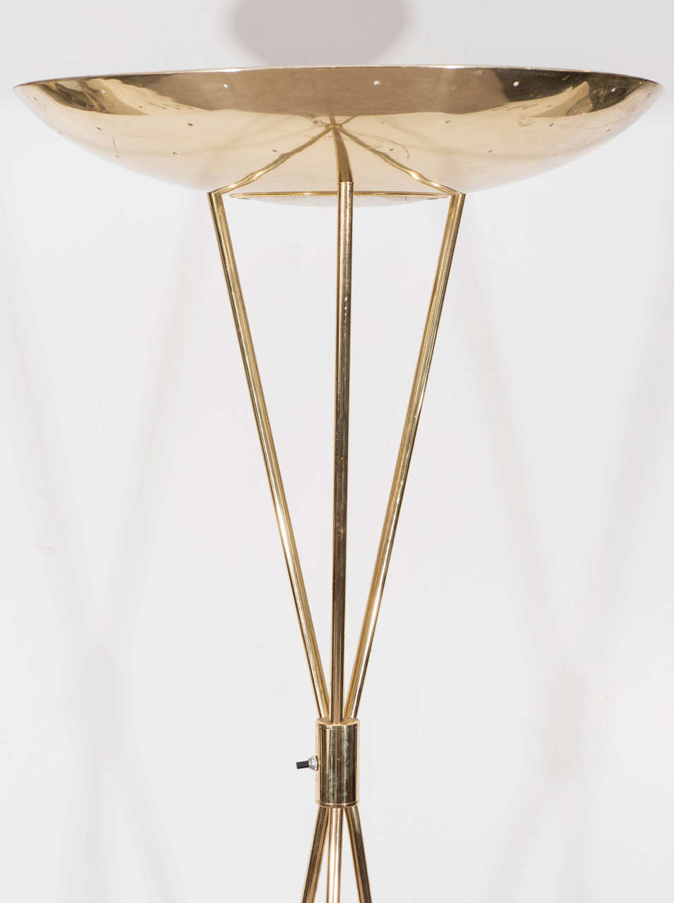Midcentury Brass Torchiere Tripod Floor Lamp By Gerald