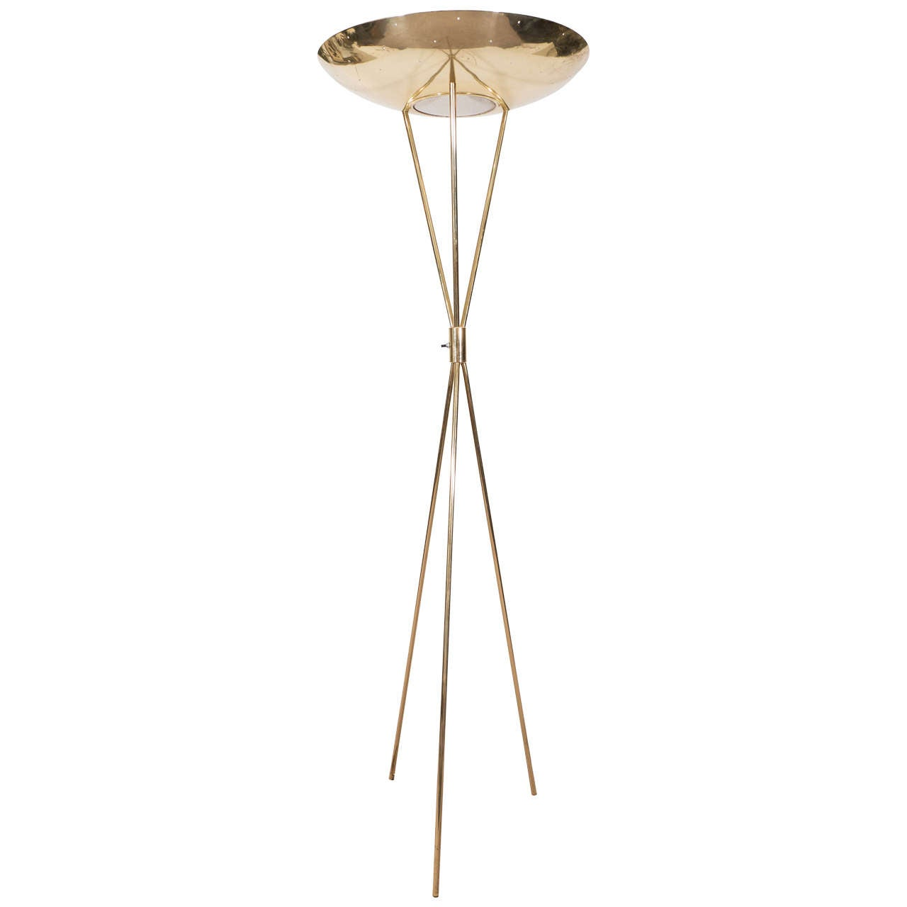 Midcentury Brass Torchiere Tripod Floor Lamp by Gerald Thurston ...