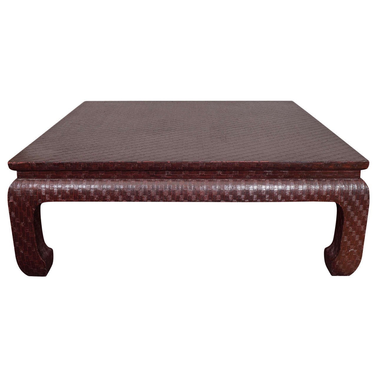 Karl Springer Style Burgundy Grasscloth Coffee Table By Baker At 1stdibs