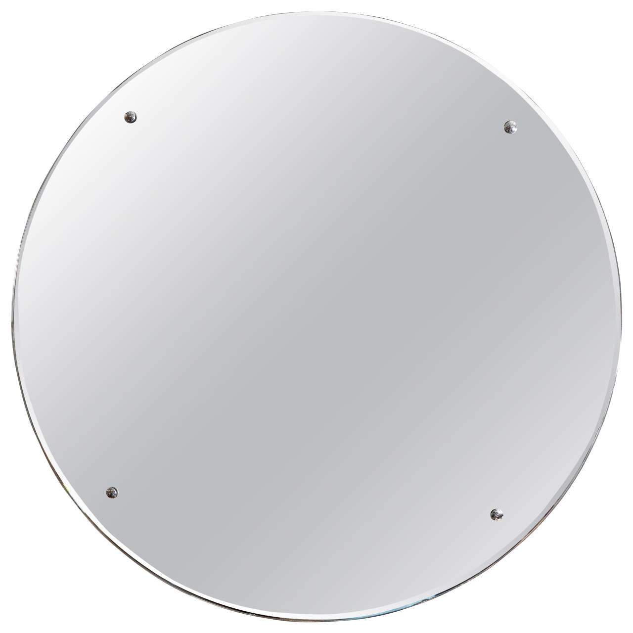 Art deco mirror zolt round frameless art deco mirror with chrome buttons at 1stdibs amipublicfo Image collections