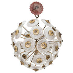 A Midcentury Sputnik Chandelier in Brass and Pressed Glass