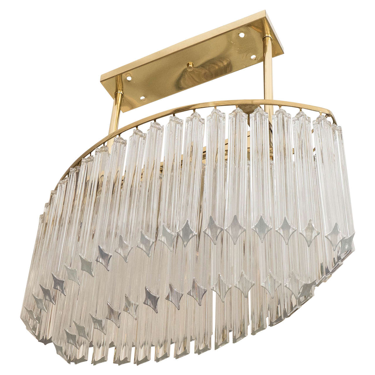 An Oval Chandelier in Brass and Glass Prisms by Venini For Sale at – Glass Prisms for Chandeliers