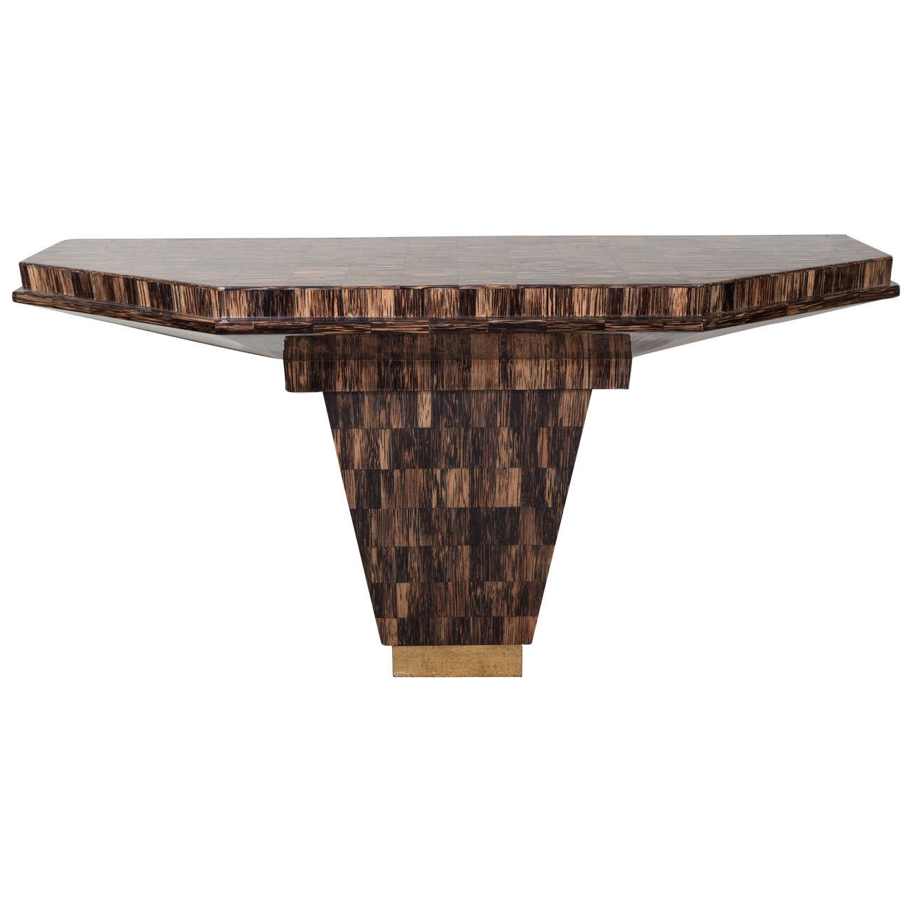 A Midcentury Tessellated Horn Console Table in the Style of Karl Springer