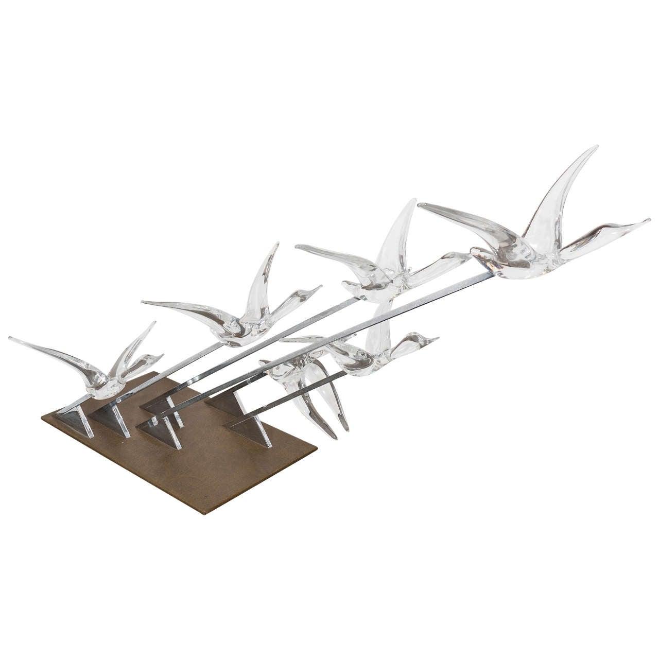 Daum Sculpture of Glass Geese in Flight