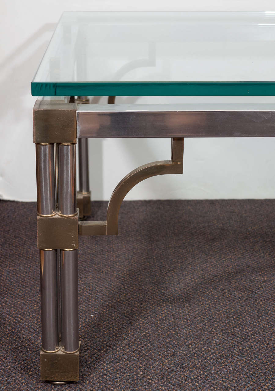 Asian Inspired Glass Top Chrome Coffee Table With Brass Detail 3